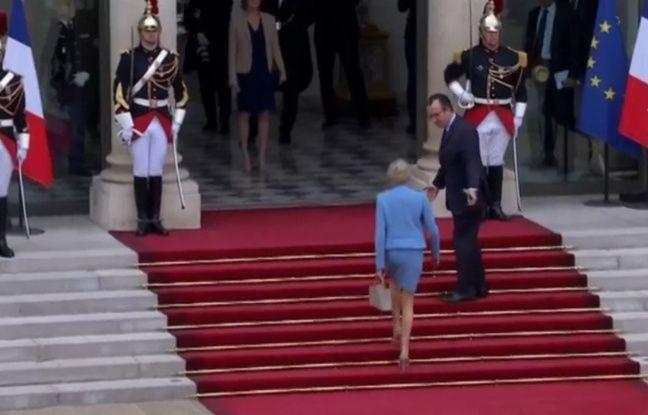 Capture d'écran BFMTV Brigitte MAcron à l'Elysée le 14 mai 2017