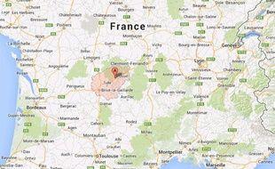 Localisation de la Corrèze, France.