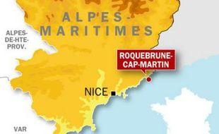 Carte de localisation de Roquebrune-Cap-Martin (Alpes-Maritimes) où un déséquilibré a tué un octogénaire, samedi 2 janvier 2010.