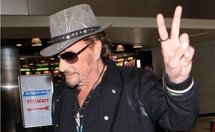 Johnny Hallyday à l'aéroport de Los Angeles en 2015.