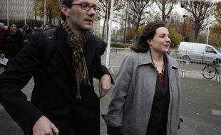 Emmanuelle Cosse arrive au congrès d'EELV, le 30 novembre 2013 àCaen.