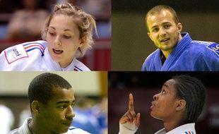 Les judokas français Automne Pavia (en haut à g.), David Larose (en bas à g.), Ugo Legrand (en haut à dr.) et Audrey Tcheumeo (en bas à dr.), avant les championnats d'Europe d'Istanbul.