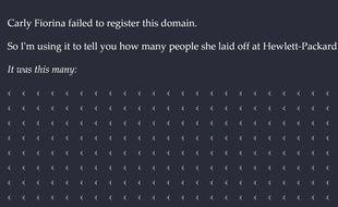 Capture d'écran du site CarlyFiorina.org, que la candidate Carly Fiorina a oublié de déposer.