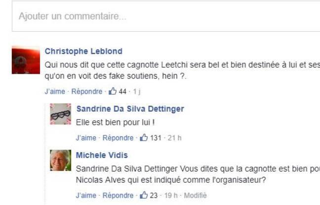 Capture des commentaires de la cagnotte en soutien à Christophe Dettinger.