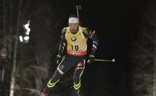 Martin Fourcade lors de l'individuel de la manche de Coupe du monde d'Ostersund, le 3 décembre 2014.