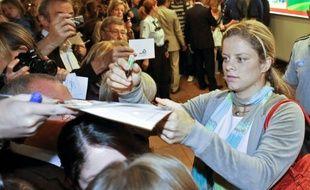 La championne de tennis belge, Kim Clijsters, à son retour de l'US Open, à Bruxelles, le 16 septembre 2009.