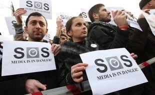 Des journalistes géorgiens protestent à Tbilisi, le 20 décembre 2011. (Illustration)