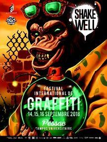 Affiche de la troisième édition du Shake Well Festival, les 14,15 et 16 septembre 2018 à Pessac.