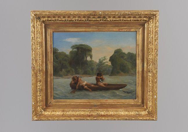 «Deux indiens en pirogues» par François-Auguste Biard, actuellement au Quai Branly.