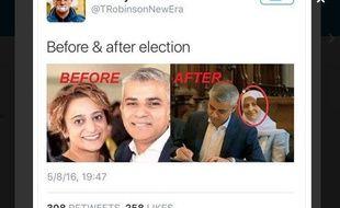 Capture d'un tweet du militant britannique d'extrême-droite Tommy Robinson.