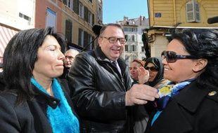 Samia Ghali et Patrick Mennucci en campagne pour le second tour des municipales le 24 mars 2014 à Marseille