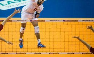 La star du volley tricolore Earvin Ngapeth, le 9 janvier 2016 à Berlin
