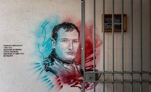 Un portrait de Napoléon Bonaparte par l'artiste C215, à la prison de Fresnes, en juillet 2020.