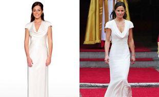 A gauche, la réplique de la robe de Pippa Middleton, à droite Pippa Middleton pendant le mariage de sa soeur Kate, le 29 avril 2011, dans sa robe Alexander McQueen