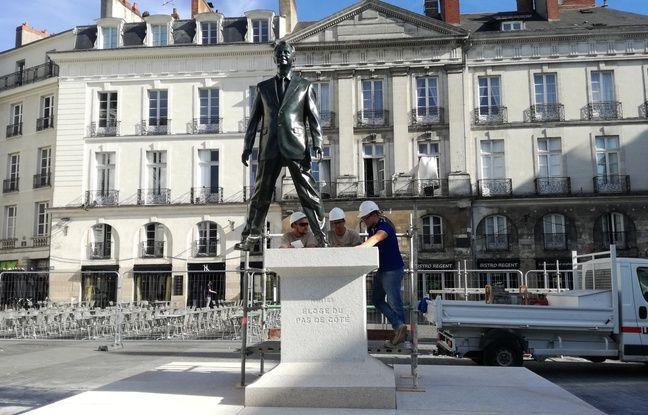 La statue «Eloge du pas de côté» de Philippe Ramette.