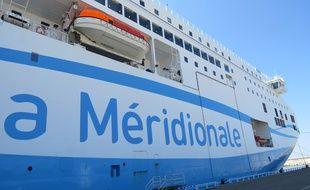 Marseille, le 2 juin 2015, Le Piana de La Meridionale à quai au port de Marseille. Illustration.