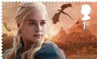 """Illustration d'un timbre du service postal britannique inspiré de la série """"Game of Thrones"""""""