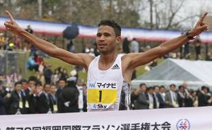 Le Marocain El Mahjoub Dazza lors du marathon de Fukuoka, le 1er décembre 2019.