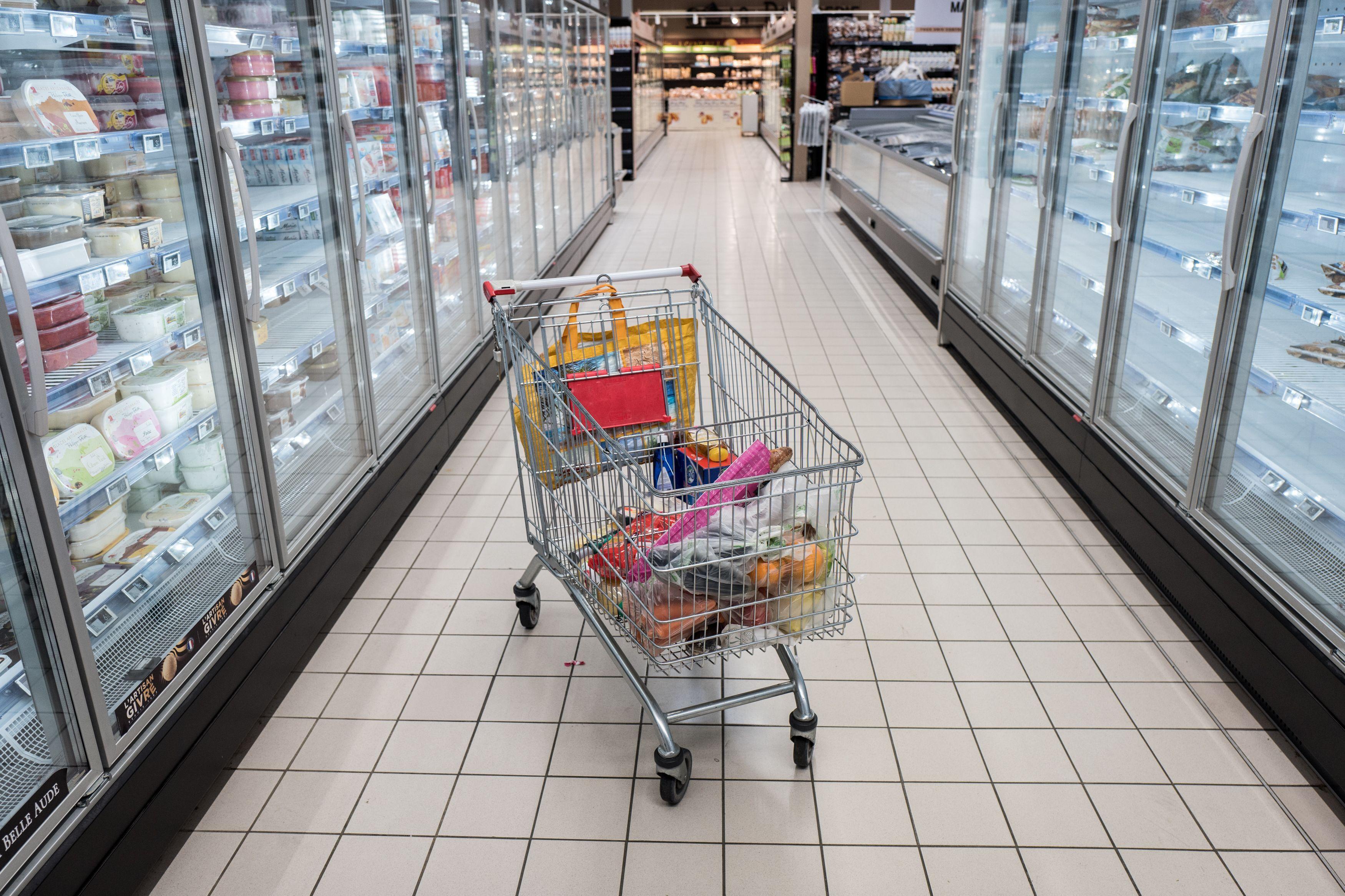 Un caddie dans un supermarché. (Illustration