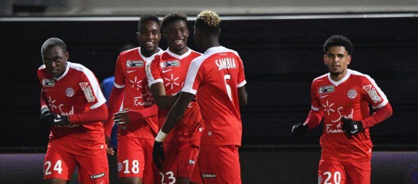 Alors que Montpellier menait au score, les échecs d'Isacc Mbenza (n°18) ont permis à Amiens de rester dans le match à Amiens (archives).