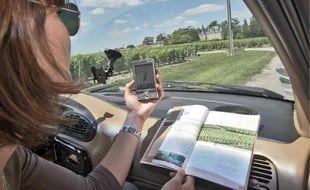 Le GPS indique les sites à voir sur la route du vin de Bordeaux en Graves et Sauternes.