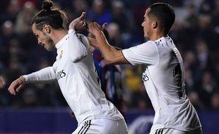 Gareth Bale refuse de célébrer son but avec Lucas Vasquez, le 24 février 2019 à Levante.