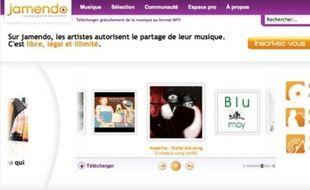 Capture d'écran de la page d'accueil de Jamendo