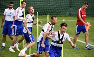 Les joueurs russes à l'entraînement.