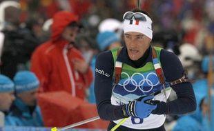 Vincent Jay champion olympique du sprint en biathlon, le 14 février 2010 à Whistler.