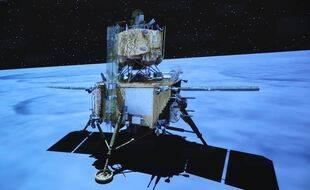 Une animation montrant le rover Chang'E 5 sur la Lune.