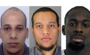 Les frères Kouachi et Amedy Coulibaly, suspectés des attaques contre «Charlie Hebdo», à Montrouge, Dammartin-en-Goële et Porte de Vincennes en janvier 2015.