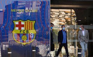 Le président Bartomeu sort du QG du club, le 26 août 2020, au lendemain de l'annonce de Lionel Messi de son intention de partir.