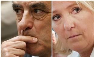 Montage des candiddats à la présidentielle François Fillon (LR) et Marine Le Pen (FN) par 20 Minutes