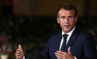 Emmanuel Macron, le 1er septembre 2020 lors d'un déplacement à Beyrouth (Liban).