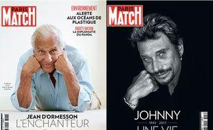 «Paris Match» sort deux numéros cette semaine, l'un consacré à Jean D'Ormesson, l'autre à Johnny Hallyday.