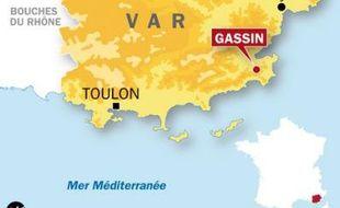 Carte de localisation de Gassin (Var) où un médecin s'est retanché chez lui avec sa fille de 7 ans, le 23 décembre 2009.