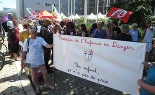 Manifestation des professionnels de la protection de l'enfance à Nantes, le 28 juin 2018