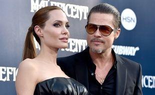 Angelina Jolie et Brad Pitt lors de l'avant-première de «Maléfique», le 28 mai 2014.