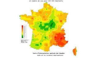 Capture d'écran de la carte des cas de diarrhée aiguë constatés dans la semaine du 19 au 25 décembre 2011 par le réseau Sentinelles.