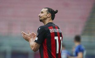 Zlatan Ibrahimovic sous le maillot du Milan AC, le 21 février 2021.