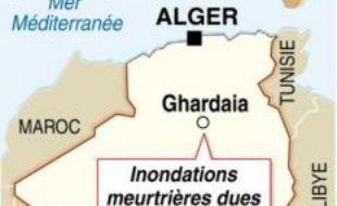 Au moins 29 morts, des centaines de maisons détruites, des routes coupées: la région de Ghardaia, à 600 km au sud d'Alger, a payé un lourd tribut mercredi aux pluies inhabituelles et diluviennes qui se sont abattues sur cette région semi-désertique.