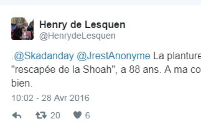 Capture d'écran du tweet d'Henry de Lesquen le 28 avril 2016 à 10h02