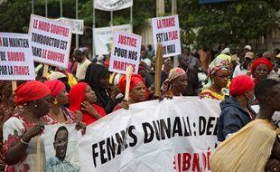 Une manifestation à Bamako contre la France et le président Ibrahim Boubacar Keïta, le 11 août 2020.