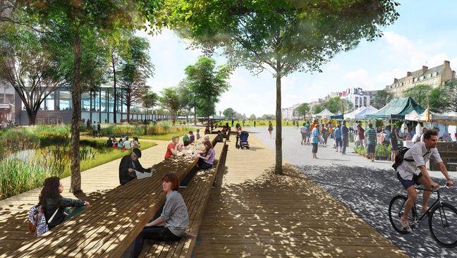Des tables de pique sont envisagées sur la future place de la Petite-Hollande(dessin d'intention).