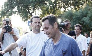 2008 : le Président Nicolas Sarkozy fait son jogging en compagnie de journalistes.