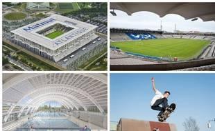 Le Matmut Atlantique, le stade Chaban-Delmas, la future piscine Gallin et un skateur à Bordeaux.