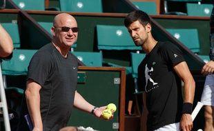 André Agassi et Novak Djokovic, le 29 mai 2017.