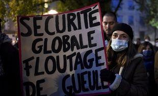 Manifestation contre la loi sur la sécurité globale le 27 novembre 2020à Nantes.