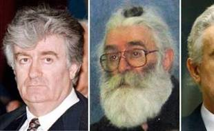 A combination of pictures shows former Bosnian Serb leader Radovan Karadzic (R-L) during the start of his initial appearance in the court room of the International Criminal Tribunal for the Former Yugoslavia in The Hague July 31, 2008, in an undated portrait taken in Belgrade and attending a parliamentary session in the Republik of Srpska in Bosanski Samac February 13, 1995. Karadzic faces a U.N. war crimes judge for the first time to answer charges of genocide for his actions in the 1992-95 Bosnia war. REUTERS/Staff