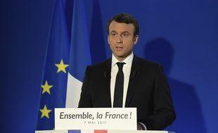 Emmanuel Macron a pris la parole une heure après l'annonce de sa victoire, le 7 mai 2017.